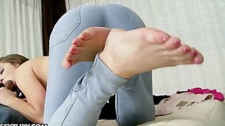 blowjob boobs brunette big-cock doggy-style foot-fetish footjob hardcore natural