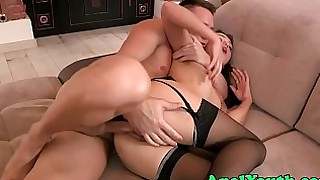 anal ass babe beauty doggy-style double-penetration fuck high-heels innocent